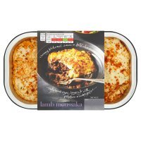menu from Waitrose Lamb Moussaka, mains for 2