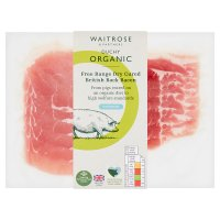 Waitrose Duchy Organic British free range dry cured unsmoked back bacon, 8 rashers