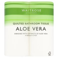 Waitrose aloe vera white toilet tissue, pack of 4 rolls
