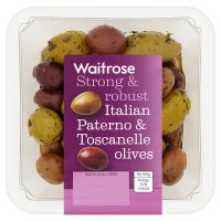 Waitrose Italian Paterno & Toscanelle olives in a herb dressing