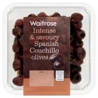 Waitrose Spanish couchillo olives in a chilli, basil and lemon dressing