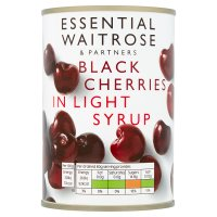 essential Waitrose Black Cherries (in light syrup)