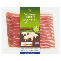Duchy Originals organic British bacon, dry cured unsmoked streaky rashers