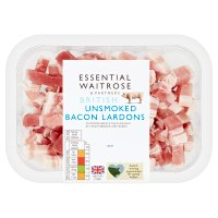 essential Waitrose unsmoked British bacon lardons