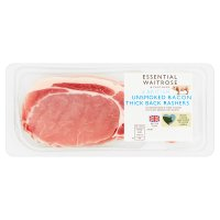 essential Waitrose 6 British Outdoor Bred unsmoked thick cut back bacon rashers