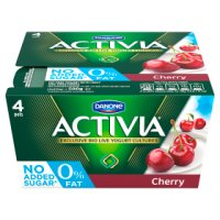 Activia fat free cherry yogurts