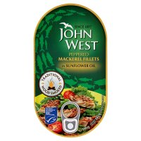 John West peppered mackerel fillets in sunflower oil