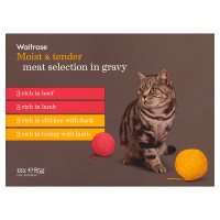 Waitrose special recipe cat food, meat selection - 12 x 85g pouches