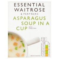 essential Waitrose asparagus soup in a cup, 4 servings