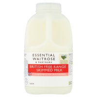 essential Waitrose skimmed milk 0.1% fat 1 pint