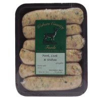 Woburn Country Foods pork, leek & Stilton sausages