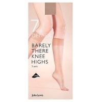 John Lewis 7 denier barely there nude knee high tights, pack of 3