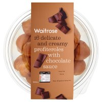 Waitrose 16 cream profiteroles with chocolate sauce