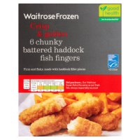 Waitrose Frozen 6 MSC line caught chunky battered haddock fingers