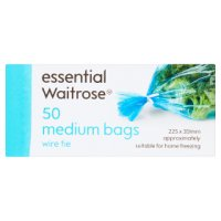 essential Waitrose medium frozen food bags, roll of 50
