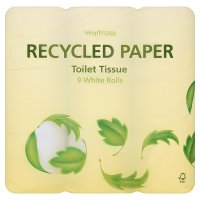 Waitrose recycled paper toilet tissue, white - 9 rolls