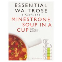 Waitrose Minestrone soup in a cup with croutons and noodles, 4 servings