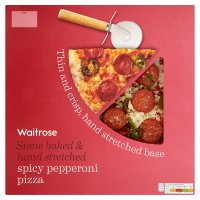 Waitrose hand stretched thin & crispy spicy pepperoni & jalapeno pizza
