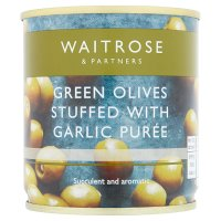 Waitrose stuffed green olives/garlic