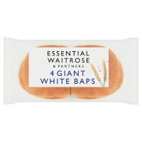 essential Waitrose White Giant Baps