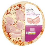 essential Waitrose thin & crispy cheese & ham pizza