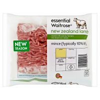 essential Waitrose New Zealand lamb mince, typically 10% fat