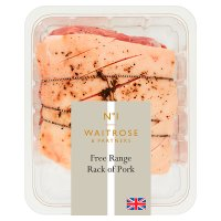 Waitrose British Outdoor Bred pork French trimmed seasoned crackling loin rack