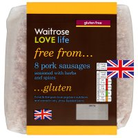 Waitrose Love life 8 British gluten free pork sausages