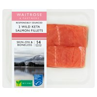 Waitrose 2 boneless wild Alaskan Keta salmon fillets