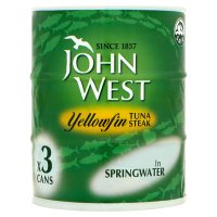 John West yellowfin tuna steak in spring water, 3 pack