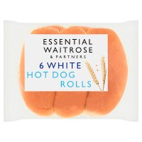 essential Waitrose white hot dog rolls