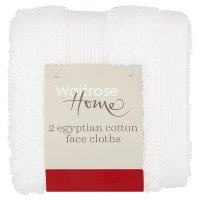Waitrose Egyptian Cotton White Facecloths