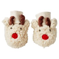 Waitrose REINDEER NOVELTY FUR BOOTIES 0-3