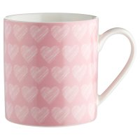 Waitrose Dining pink heart can mug