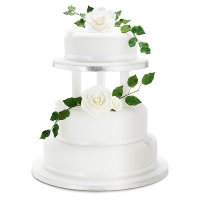 Rose & Butterfly Wedding Cake (White) - Vanilla (Raised Fruit Top Tier) - 3 Tier