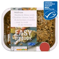 Waitrose MSC Easy To Cook 2 haddock fillets with cheese, basil & parmesan crumble