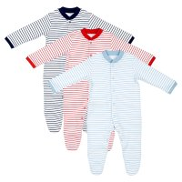 Waitrose stripes baby sleepsuits 3 pack