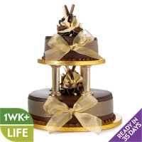 Chocolate Wedding Cake - Gold - 2 Tier