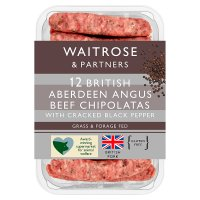 Waitrose Aberdeen Angus beef & black pepper chipolatas