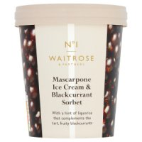Waitrose 1 Mascarpone Ice Cream Blackcurrant Sorbet