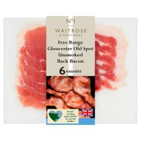 Waitrose free range Gloucester Old Spot unsmoked dry cured back bacon