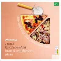 Waitrose hand stretched, thin & crispy ham & mushroom pizza