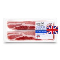 essential Waitrose 20 British Outdoor Bred unsmoked thin cut streaky bacon rashers