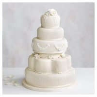 Grace Five Tier Ivory Wedding Cake  (Fruit & Chocolate Sponge)