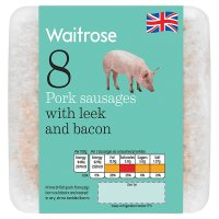Waitrose 8 British Outdoor Bred pork sausages with leek and bacon