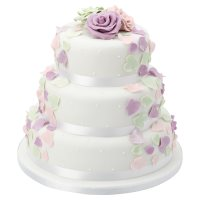 Fiona Cairns Pastel Rose Petal 3-tier Wedding Cake (Fruit)