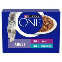 Purina ONE Adult Cat Mini Fillets in Gravy - Ocean fish & lamb wet food pouch