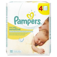 Pampers new baby sensitive wipes, 4 pack