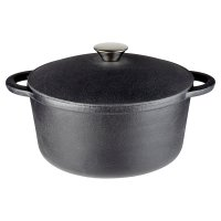 Waitrose Cooking matte black round cast iron casserole dish
