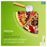 Waitrose hand stretched, thin & crispy fire roasted pepper & courgette pizza